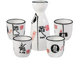 Sake set wit Japanse draak - Sushitotaal.nl