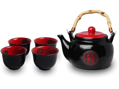 Japans theeservies zwart/rood keramisch