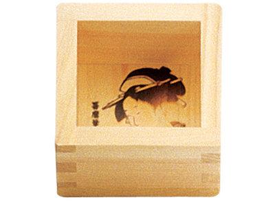 Sakecup hout met opdruk