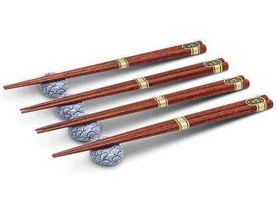 Eetstokjes en opleggers Seigaiha - set van 4 stuks