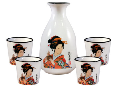 Sake set - 5-delig wit (Japanse dame)