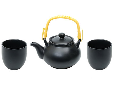 Japans 3-delig theeservies Black Matte