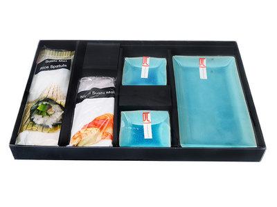 Sushiset Glassy Turqoise met sushimatje en nigirvorm