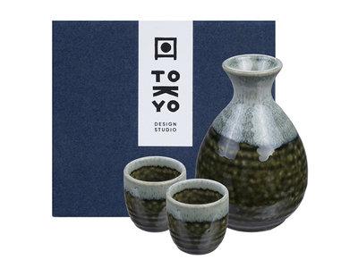 Sake set - 3-delig Oribe Irabo
