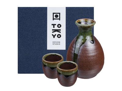 Sake set - 3-delig Iga Oribe