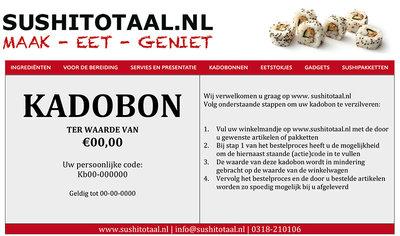 Kadobonnen | Sushitotaal.nl | De Sushi webshop