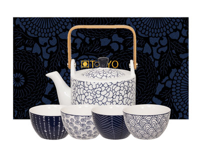 Japans theeservies Blue de Nimes White-Blue - Sushitotaal