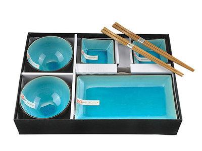 Sushiset glassy turqoise 8-delig